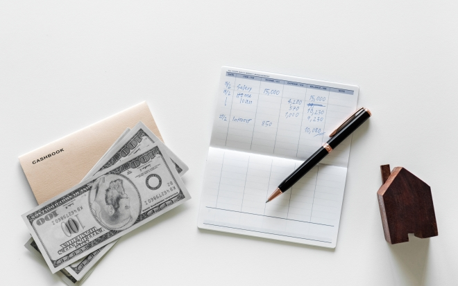 Flat lay of earning money concept